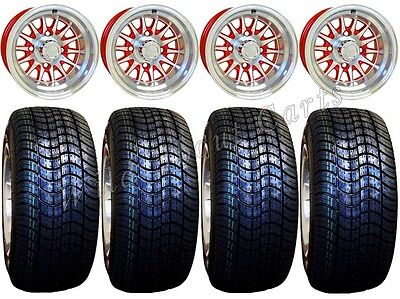 42099f922a4 GOLF CART WHEELS   Tires Rims Machined   Red 10