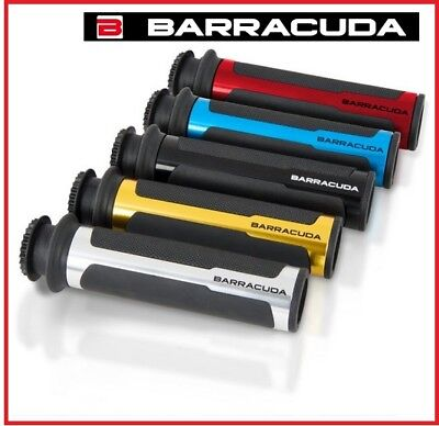 Coppia Manopole Barracuda Racing Blu 22Mm Alluminio Gomma Moto Naked Strada