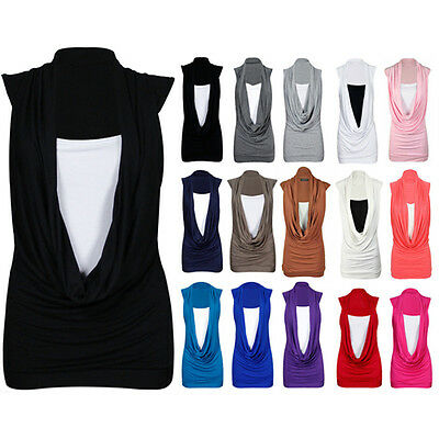 Womens Sleeveless Cowl Scoop Neck Top Ladies Gathered Long Vest Plus Sizes 8-26