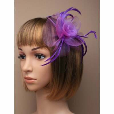 Purple with sinamay flower and feather tendrils fascinator alice hair band