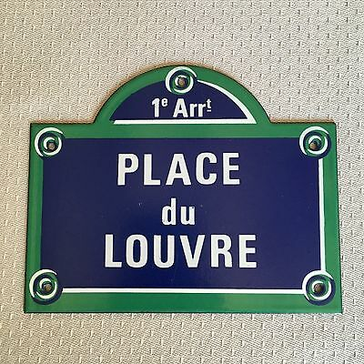 French Street Enamel Sign Plaque - PARIS PLACE DU LOUVRE