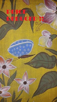 Antique Southeast Asian Hand Painted Flowers And Butterflies On Silk