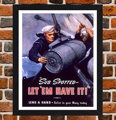 Framed Sub Spotted US Navy Propaganda Poster A4 Size Mounted In A Black Frame