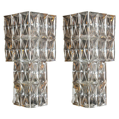 A Pair of Art Deco Crystal Wall Sconces 102-2927