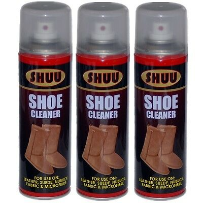 3 x Shoe Cleaner Leather Suede Nuback Fabric Microfibre UGG Boots Spray Can 061