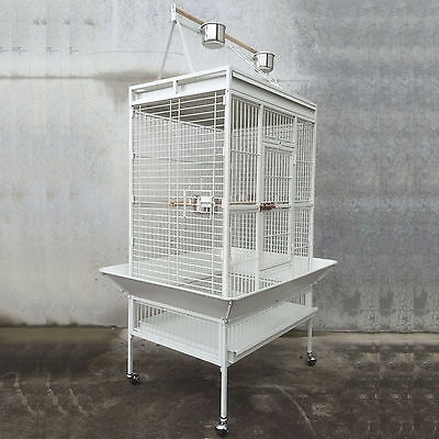 White 173cm Play Top Roof Parrot Aviary Bird Cage Perch Ladder On Wheels A19