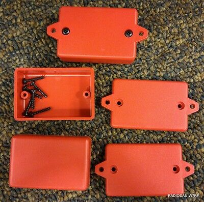USA small RED Plastic Electronic Project Box x3 Enclosure case 2.25 x 1.5 x .785