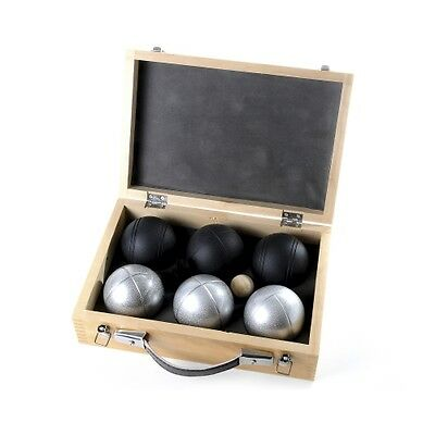 Boules silver-black - 6 Balls with Wooden case