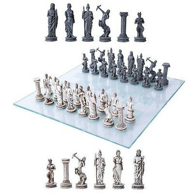 Olympus at War Gods and Goddess Chess Pieces With Glass Board Set Collectible