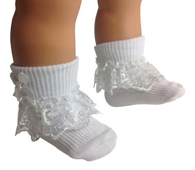 Girls & Baby sizes 6 Pair of Frilly Lace Top Socks White Sock with Lace and Bow