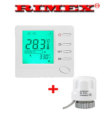 Digital Room 7-day programmable thermostat designed for valve actuator .