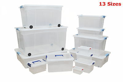 Clear Plastic Storage Boxes + Clip Lids  Large Small Strong Container Box Wheels