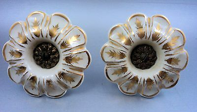 Pair of Antique Victorian Porcelain and Brass Drapery Tieback Hooks