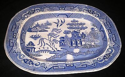 """Beautiful Antique Staffordshire PW&Co Blue Willow Transferware 18"""" Meat Platter"""