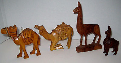 Vintage Hand-Carved Collection of Wooden Camels & Alpacas Figures 4 Pieces NICE!