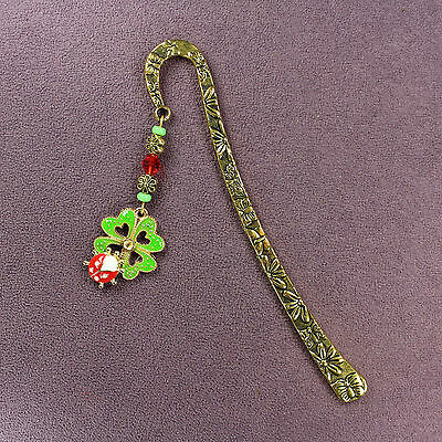 CLOVERBUG CHARM BOOKMARK Ladybug 4-Leaf Clover Leaf Magick Double Luck Love Gold