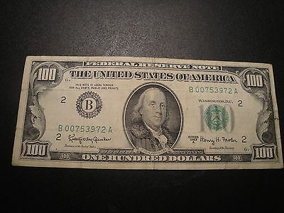 (1) $100.00 Series 1963 A Federal Reserve Note. VF Circulated Condition