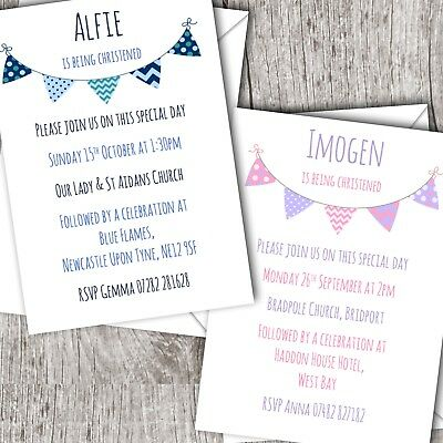 Personalised Bunting Invitations • Christening ~ Baptism ~ Naming Day • Girl/Boy