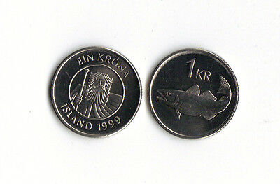 *world Foreign Coins* Iceland *1 Krona 1999* Fish * Cod * Unc * Lot D14 *