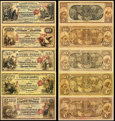 !Copy! 5 Old Rare United States Gold Bank 5,10,20,50,100 Banknotes !Not Real!