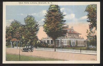 Postcard ENDICOTT New York/NY  Ideal Home Library view 1910's