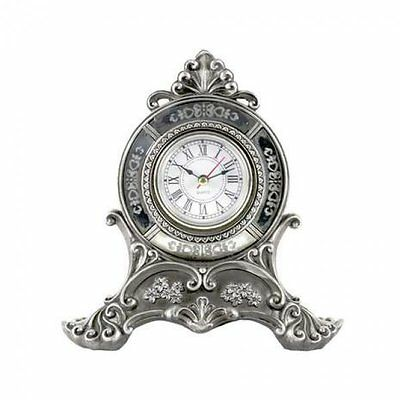 20cm Shabby Chic French Ornate Metal Wall Clock Unique Mantel Silver Vintage