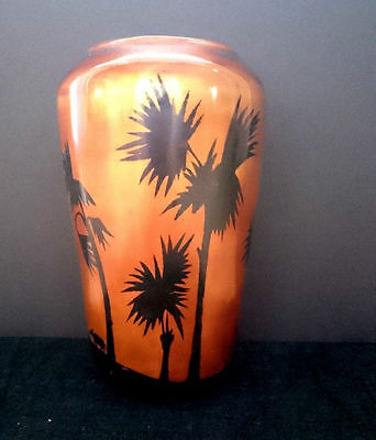 Vintage Vietnamese Bamboo?/Wooden Hand Painted Lacquered Vase