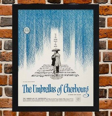 Framed The Umbrellas of Cherbourg Movie Poster A4 / A3 Size In Black Frame
