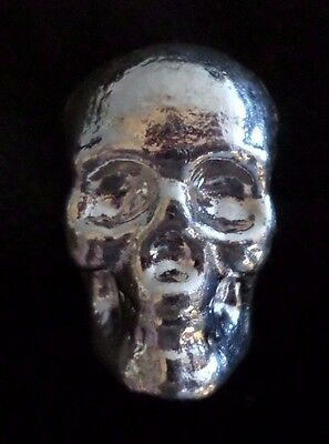 3 Troy oz .999 PURE Silver Bullion 3D Skull Poured Bar Monarch Precious Metals