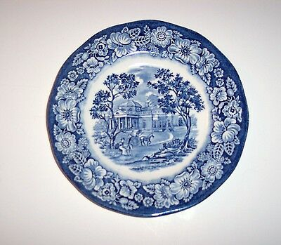 Vintage Staffordshire Liberty Blue China, Bread and Butter Plate, Monticello