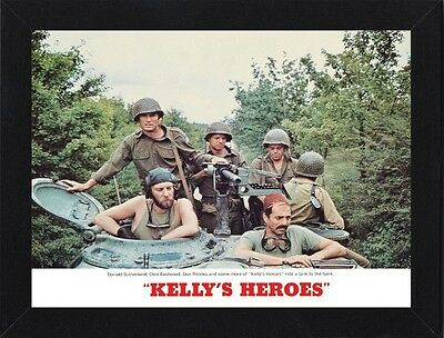 Framed Kelly's Heroes Clint Eastwood Movie Poster A4 Size In Black / White Frame