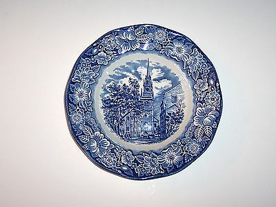 Vintage Staffordshire Liberty Blue China, Rimmed Soup Bowl, Old North Church