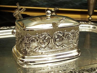 Silver Plate Sugar Bowl Ornate Old Styled Caviar Honey Vintage Antique Gift