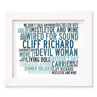 `Crystalline` CLIFF RICHARD Art Print Typography Song Lyrics Signed Music Poster