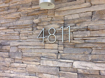 Brushed Metal Steel Mid Century Modern Style Address Numbers For House Home