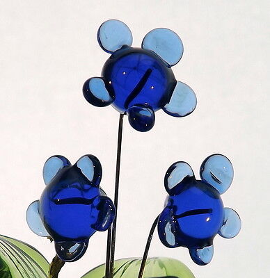 Delicate Blue Daisy Glass Flowers With Vase Unique Present For Daughter Sister