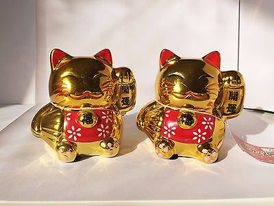 2 Medium JAPANESE LUCKY GOLD CAT Chinese FORTUNE Ceramic CAT Feng Shui Decor