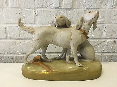 Vintage Royal Dux Czechoslovakia Porcelain Figurine Statue of 2 Hunting Dogs