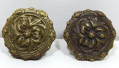 Spectacular Large Art Nouveau Vintage Solid Brass Antique Pair of Door Knobs