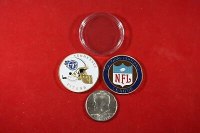 NFL Football Team Coin: Tennessee TITANS w/ Hard Case Poker Card Protector