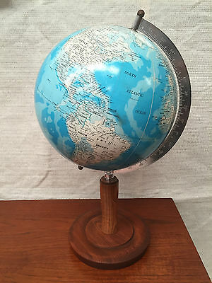 JAPANESSE VINTAGE ATLAS GLOBE TALL WOODEN BASE Retro