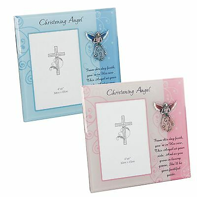 """Christening Angel Photo Frame Baby Pink or Blue Takes 4"""" x 6""""- 10cm x 15cm Photo"""