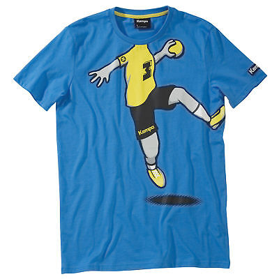 Kempa Cartoon Player T-Shirt Herren Handball Tee kurzarm blau