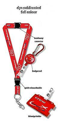 Norwegian B787 Dreamliner Dye Sublimation Lanyard + Badge Reel