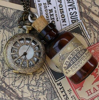 Steampunk pocket watch necklace pendant flask potion Victorian quirky gothic