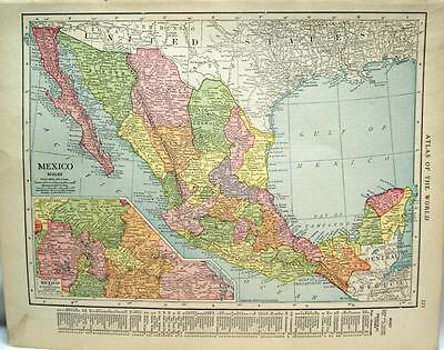 Mexico  Atlas Map Page 1916 Wwii Vintage Rand Mcnally