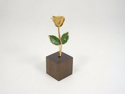 """3"""" 24k Gold Dipped Ivory Real Rose & Stand (Free Anniversary Gift Box)"""