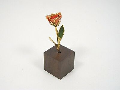 "3"" 24k Gold Dipped Peach Real Rose & Stand (Free Anniversary Gift Box)"