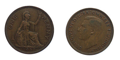 Circulated British 1937 George VI Penny / 1 Pence Coin / Great Britain