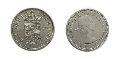 Circulated 1957 Scottish Shilling Coin / Great Britain